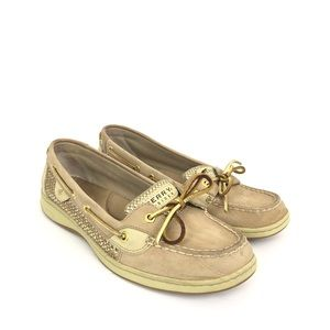 Sperry Size 10 Angelfish Gold Tan Boat Shoes